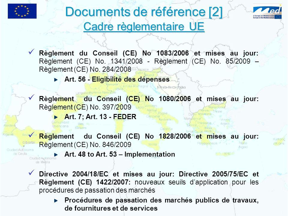 Documents de référence [2] Cadre règlementaire UE